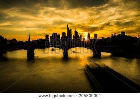 Silhouette of Frankfurt am Main skyline during sunset