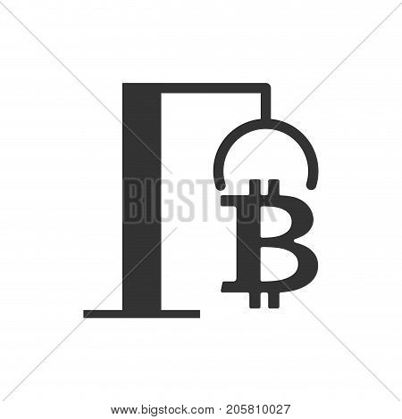 Extraction Bitcoin Icon. Recovery Of Cryptocurrency. Vector Illustration.