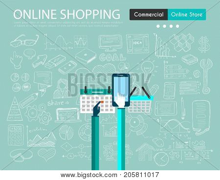 Ecommerce cart optimization concept with Business Doodle design style: online carts, sales and offers, best timing. Modern style illustration for web banners, brochure and flyers.