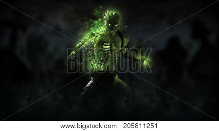 3d render of a undead zombie necromancer character
