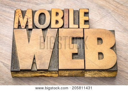 mobile web word abstract in vintage letterpress wood type printing blocks