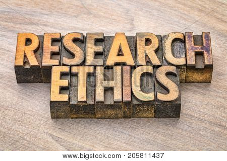 research ethics word abstract in vintage letterpress wood type printing blocks