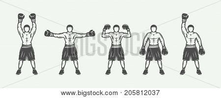 Vintage retro boxers set. Can be used for logo badge emblem mark label. Monochrome graphic Art. Vector Illustration.