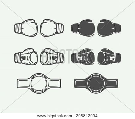 Set of vintage boxing gloves in retro style. Vector illustration. Monochrome Graphic Art.