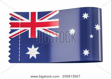 Clothing tag label with flag of Australia. 3D rendering isolated on black background