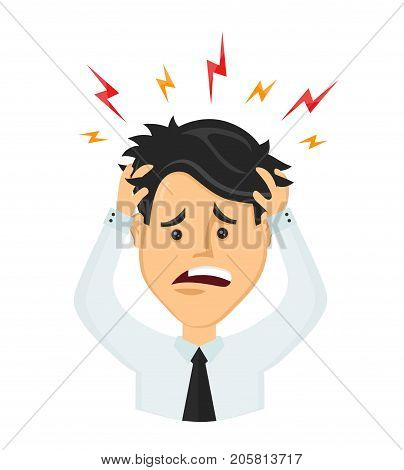 Vector flat man businessman with a headache, compassion fatigue, disease of the head, an office worker holding his head. migraine, health problems and pain head, stress work, tired, suffer, emotion
