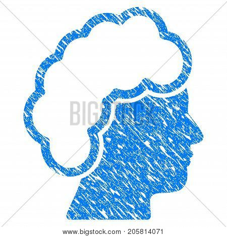 Grunge Blonde Profile icon with grunge design and unclean texture. Unclean vector blue Blonde Profile pictogram for rubber seal stamp imitations and watermarks. Draft sticker symbol.