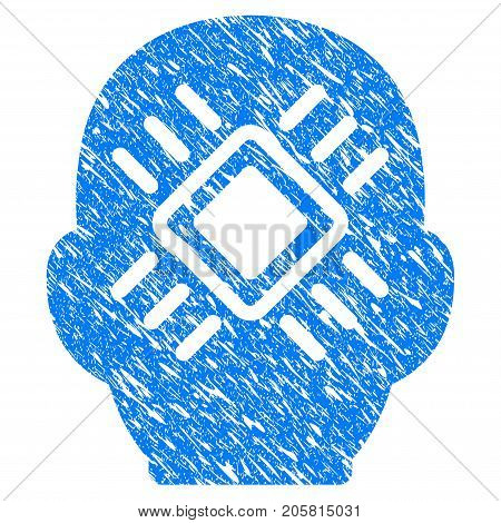 Grunge Cyborg Head icon with grunge design and unclean texture. Unclean vector blue Cyborg Head pictogram for rubber seal stamp imitations and watermarks. Draft sticker symbol.