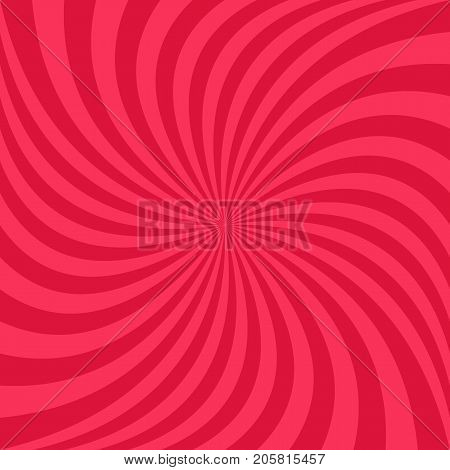 Red abstract spiral ray background - vector graphic design from swirling rays