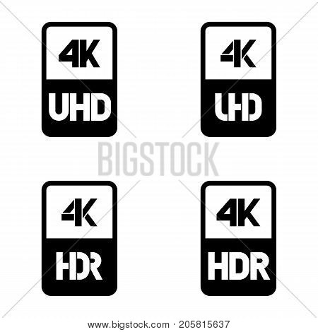 4k Ultra HD black vector icon set on white background