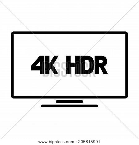 4k HDR TV black vector logo on white background