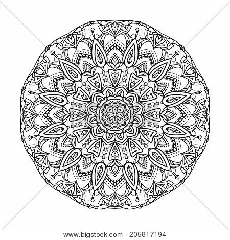 Flower monochrome geometrical vector mandala is isolated on a white background. Decorative element with east motives for design. Version of the page for coloring
