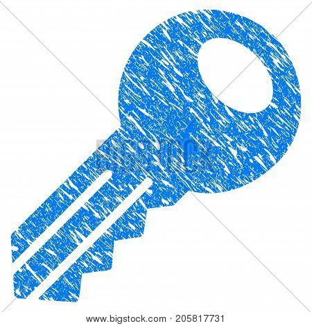 Grunge Key icon with grunge design and dirty texture. Unclean vector blue Key pictogram for rubber seal stamp imitations and watermarks. Draft sticker symbol.
