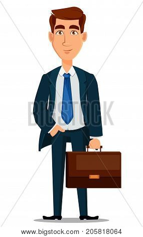 Business man in formal suit holding briefcase cartoon character. Young handsome smiling businessman in office style clothes. Vector illustration