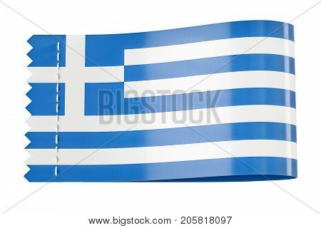 Clothing tag label with flag of Greece. 3D rendering isolated on black background