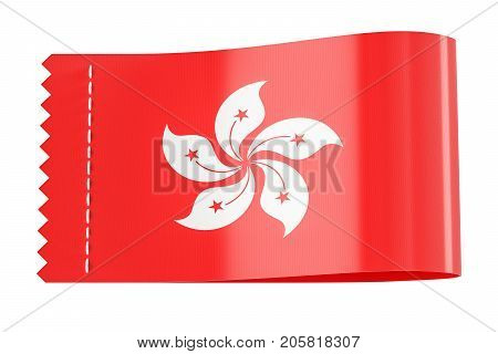 Clothing tag label with flag of Hong Kong. 3D rendering isolated on black background