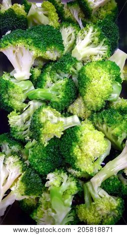 Pile of Freshly Boiled Broccolli Served at a Salad Bar
