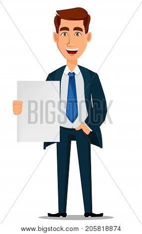 Business man in formal suit holding blank placard cartoon character. Young handsome laughing businessman in office style clothes. Vector illustration