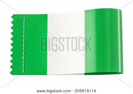 Clothing tag label with flag of Nigeria. 3D rendering isolated on black background
