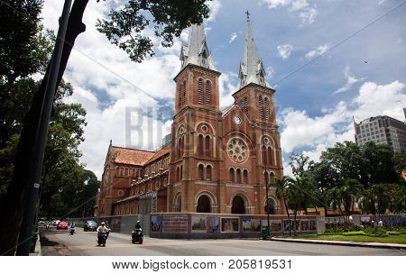 HO CHI MINH CITY (SAIGON), VIETNAM - JULY 2017 : Notre Dame Cathedral (Vietnamese: Nha Tho Duc Ba), build in 1883 in Ho Chi Minh city, Vietnam. The church is established by French colonists.