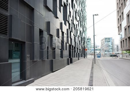 Oslo, Norway - June 06, 2017 : Modern streets of Oslo popular buildings scandinavian architecture in center of city