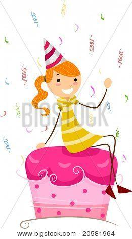 Abbildung eines Mädchens sitzen oben auf ein Kuchen