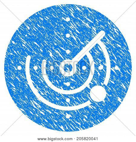 Grunge Radar icon with grunge design and unclean texture. Unclean vector blue Radar pictogram for rubber seal stamp imitations and watermarks. Draft emblem symbol.