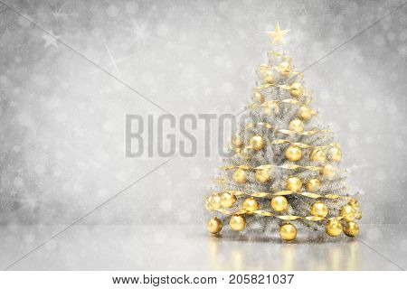 Christmas tree decoration on clean white background with snowing and glitter effect. 3D rendering