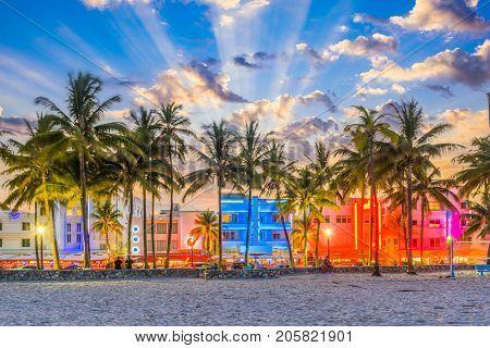 Miami Beach, Florida USA cityscape on Ocean Drive.
