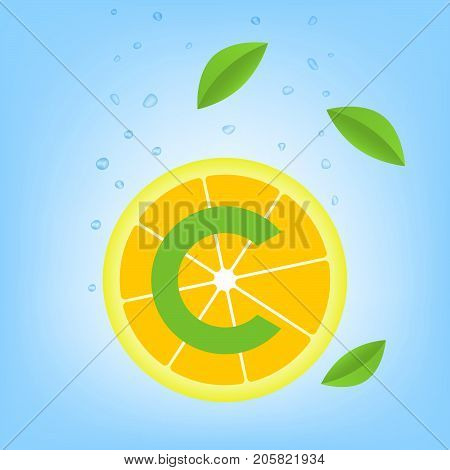 Vitamin C. Slice of lemon in water. Healthy nutrition.