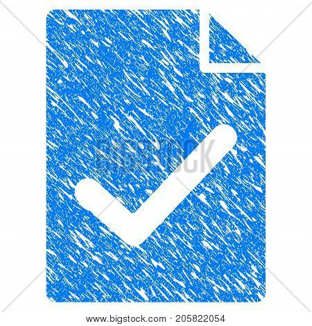 Grunge Valid Agreement Page icon with grunge design and dirty texture. Unclean vector blue Valid Agreement Page pictogram for rubber seal stamp imitations and watermarks. Draft sign symbol.
