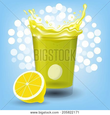 Lemon drink With vitamin c on a blue background. Healthy nutrition. The concept of a pill design with an antioxidant.