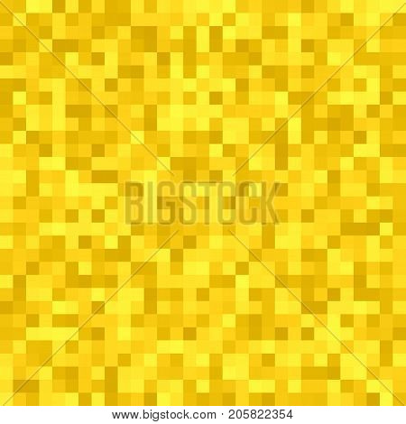 Abstract pixel square tiled mosaic background - geometric vector graphic design from golden colored squares