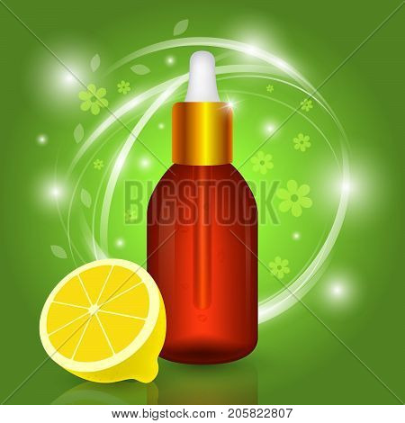 Oil with vitamin c. Organic cosmetics. Vector 3d bottle with lemon extract and essence.