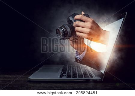 Photo business concept. Mixed media