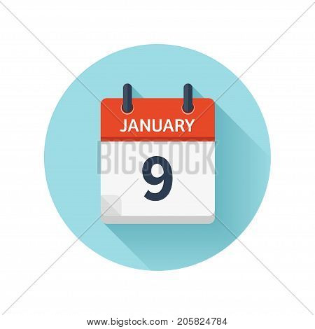January 9. Vector flat daily calendar icon. Date and time, day, month 2018. Holiday. Season.