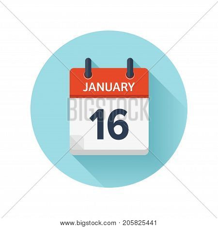 January 16. Vector flat daily calendar icon. Date and time, day, month 2018. Holiday. Season.