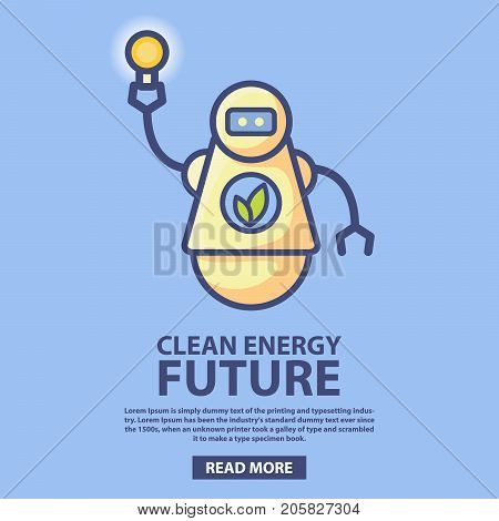 Bio energy technology of the future.Clean green energy.Robot holding a light bulb.Eco-friendly bio robot running on bio fuel.Design concept website icon of a mobile application environment protection