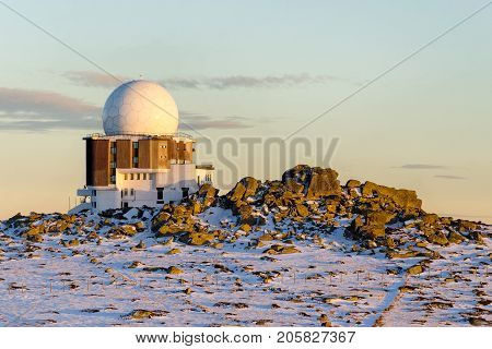 Astronomical observatory on top of Vitosha mountain Bulgaria at sunset