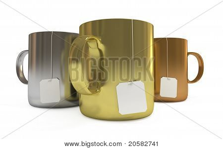 Podium Of Cups With Tea Labels, Isolated On White, With Clipping Path