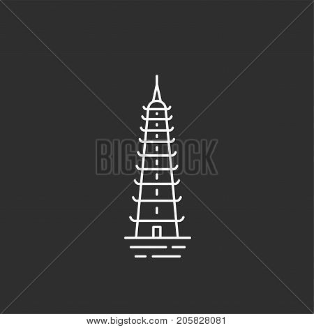 Tran Quoc Pagoda in outline style. Black and white illustration.