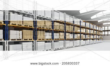 CAD warehouse planning sketch process with many boxes (3D Rendering)