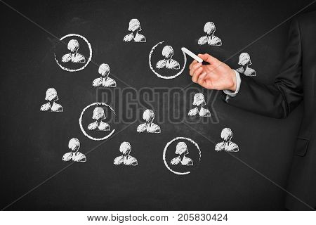 Target audience, market segmentation, customers care, customer relationship management (CRM) and team building concepts.