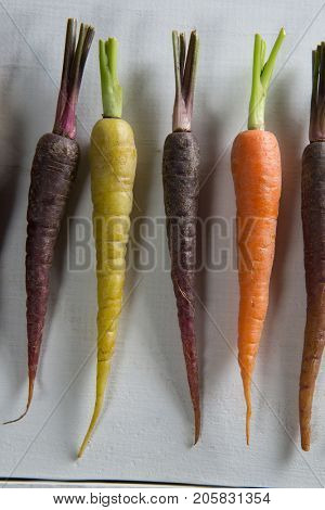 Overhead view of carrots arranged side by side on table