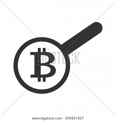 Search Bitcoin. Loop And Cryptocurrency. Virtual Money. Vector Illustration