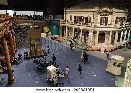 Tokyo, Japan -  May 13, 2017: Edo Tokyo museum interior, display of houses in the Edo period