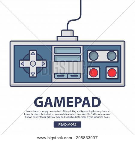 Retro game pad .The joystick for the video game old console to the TV.Classic wired controller play new and old games.80 years gadget icon.Vector in flat linear style.Outline symbol
