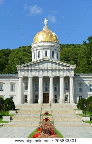 Vermont State House, Montpelier, Vermont, USA. Vermont State House is Greek Revival style built in 1859.