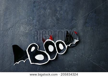 Halloween Inscription Boo On Grey Wooden Table