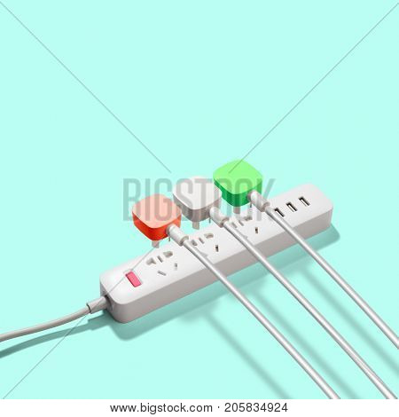 Three electrical plugs connected to power strip